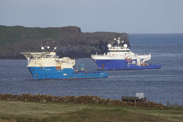 Rig support vessels in Harold's Wick, from Hagdale