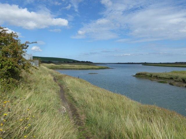 The Saxon Shore Way alongside Milton Creek