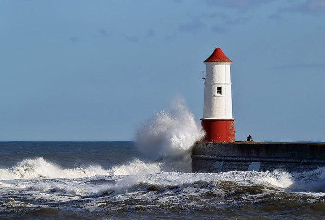 A rough sea at Berwick Pier