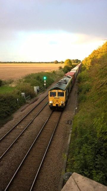Freight train viewed from Hurn Bridge, Werrington