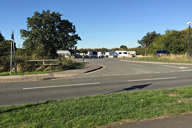 Illegal encampment by travellers, off Hampton Road, southwest Warwick