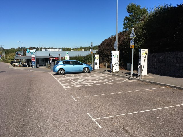 Electricity pumps at the motorway services