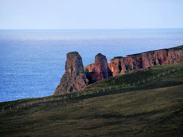 Cliffs and Stacks of Red Sandstone near Stoura Pund