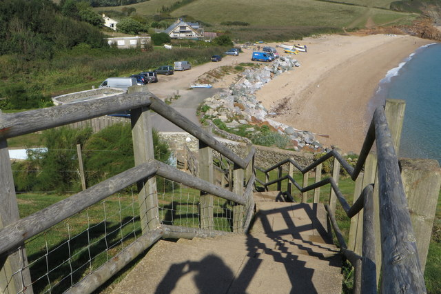 Coast Path steps down to Hallsands