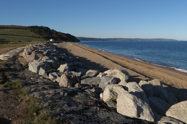 Sea defence rocks and beach at Bee Sands