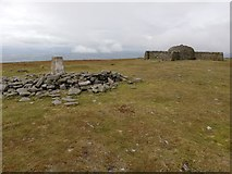 NY6834 : Trig Point and Summit Shelter, Cross Fell by Clive Nicholson