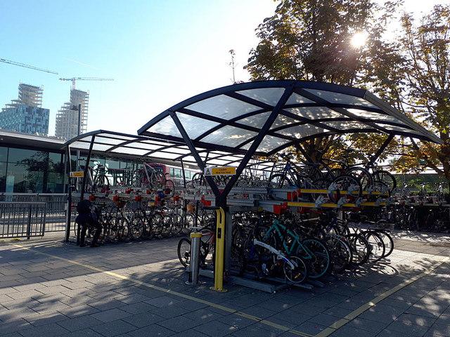 Cycle racks at North Greenwich station