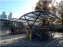 TQ3979 : Cycle racks at North Greenwich station by Stephen Craven