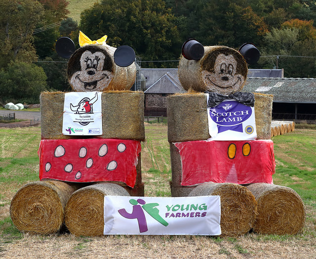Mickey and Minnie Mouse bales at Bonjedward