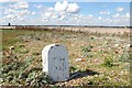 TM4548 : Trinity House property marker, north of Orford Ness lighthouse by Christopher Hilton
