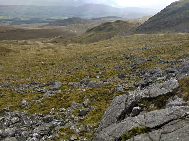 Looking down the south eastern slopes of Arenig Fawr