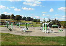 TQ2794 : Outdoor Gym, Oak Hill Park by Des Blenkinsopp