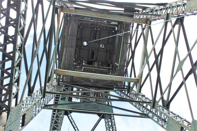 The headgear at Bersham Colliery from below