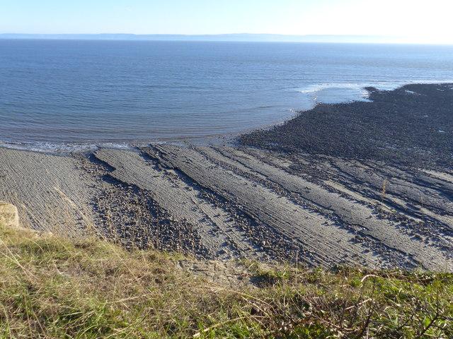 Limestone wave-cut platform and Col-huw Beach, by Llantwit Major