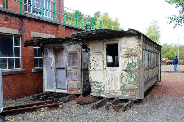 Derelict tram car bodies