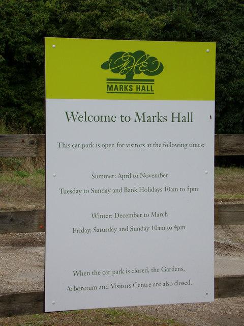 Marks Hall sign