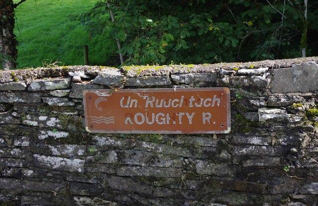 Sign on bridge over Roughty River, near Slaheny Bridge, Co.Kerry