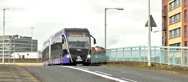 """Glider"" bus, Station Street, Belfast (October 2018)"