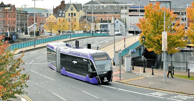 """""""Glider"""" bus, Queen's Quay, Belfast (October 2018)"""