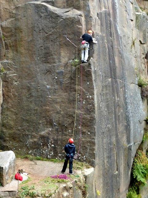 Climbers in Bolehill Quarry