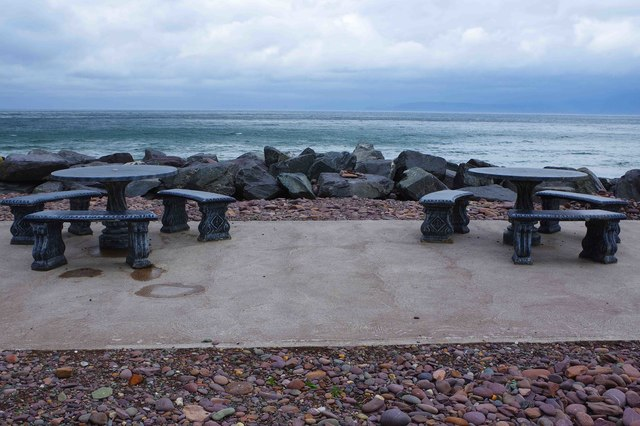 Picnic tables by the sea, Rossbeigh Beach, Glenbeigh, Co Kerry