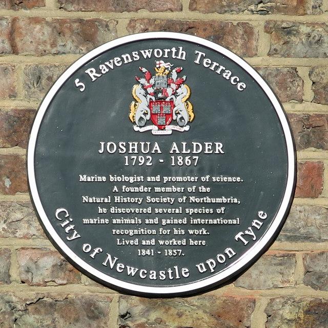Plaque re Joshua Alder, Ravensworth Terrace