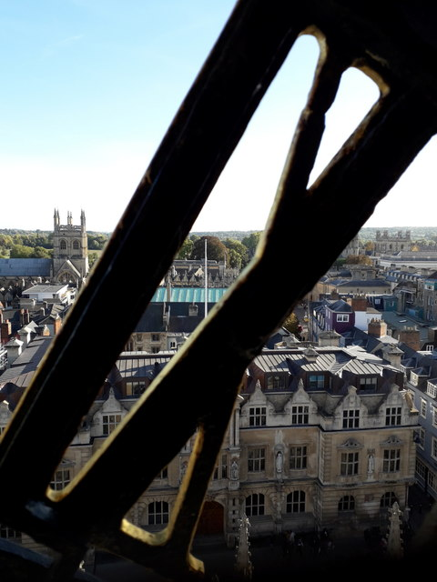 Oxford: a peek from behind the XI of St Mary's church clock