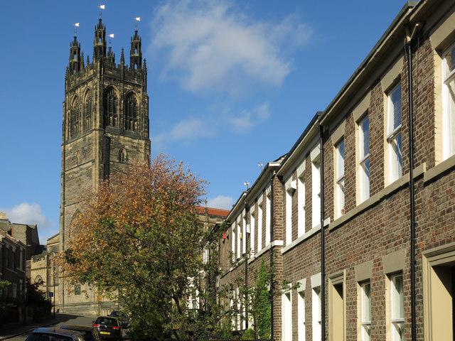 Summerhill Street, NE4 and the Church of St. Matthew, Big Lamp