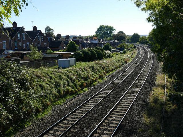 Railway west of Marlborough Road footbridge