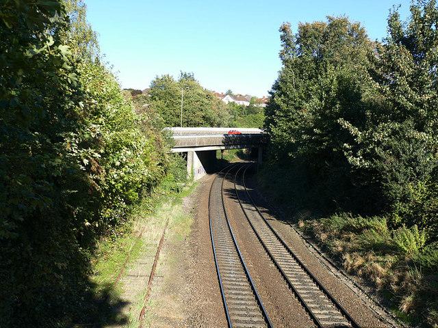 Railway east of Marlborough Road footbridge