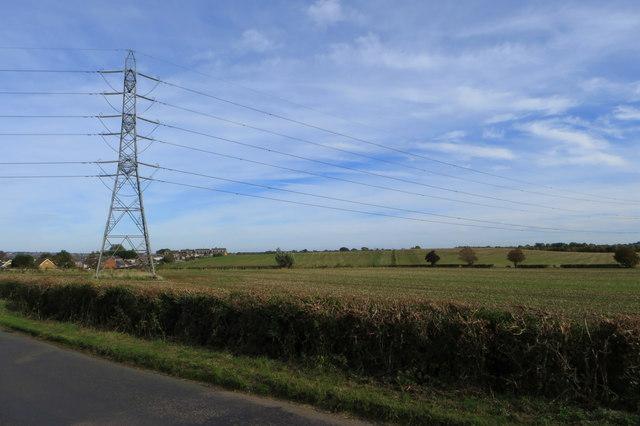 Pylon in a field by Nether Heyford