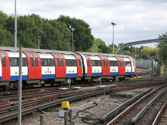 Train leaving Edgware tube station