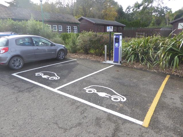 Electric car charging bays at Logan Botanic Gardens