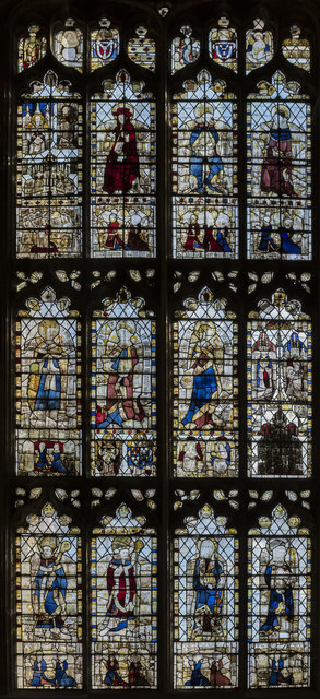 Medieval Stained glass window,St John the Baptist church, Cirencester
