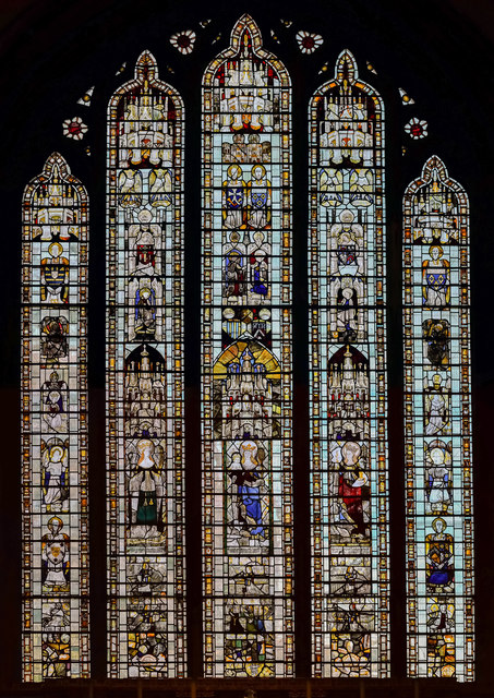 Medieval Stained glass window, St John the Baptist church, Cirencester