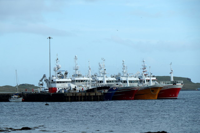 Five Norwegian fishing boats at Baltasound pier