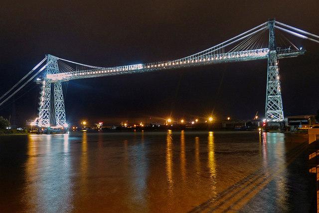 Floodlights on Newport Transporter Bridge