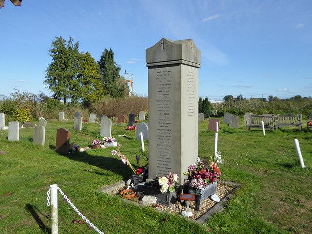 Memorial in Eastwood churchyard
