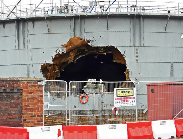 There's a big hole in the gas holder