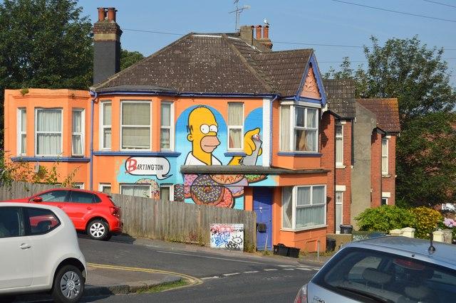 Simpsons Mural. Bonchurch Rd