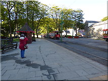 SC4384 : A tram with two trailers at Laxey by Dr Neil Clifton