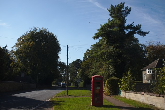 High street with Phone Box and Trees