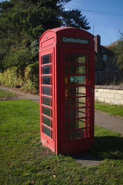 Former telephone box, now a Defibrillator box