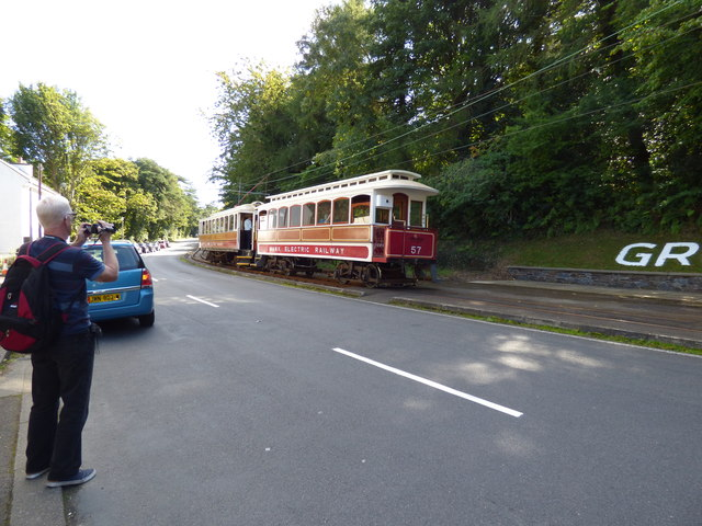 Trams leaving Groudle Glen station