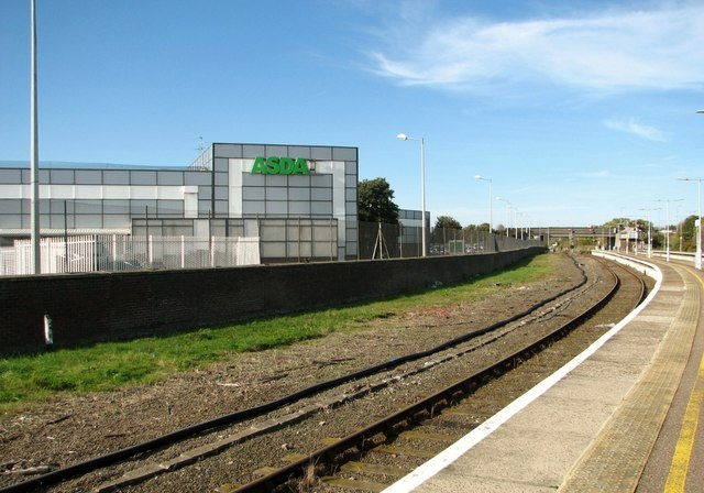 The Asda Superstore as seen from platform 4
