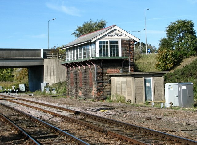 The signal box at Great Yarmouth railway station by Evelyn Simak