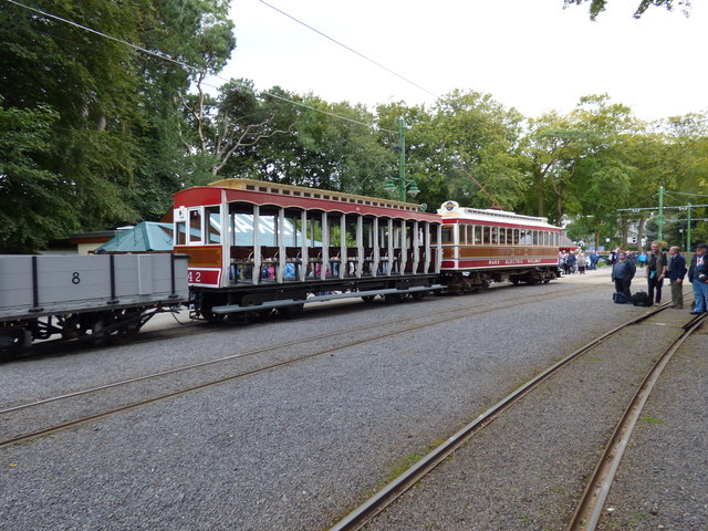 Tram + trailer + wagon at Laxey