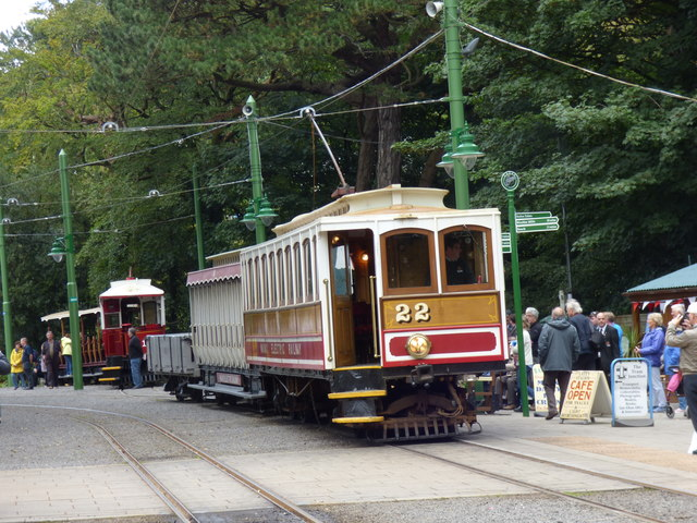 Laxey: Winter Saloon No 22 with trailer and a wagon