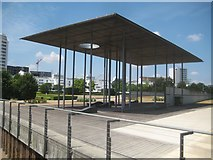 TQ4179 : Silvertown: Thames Barrier Park: The Shelter by Nigel Cox
