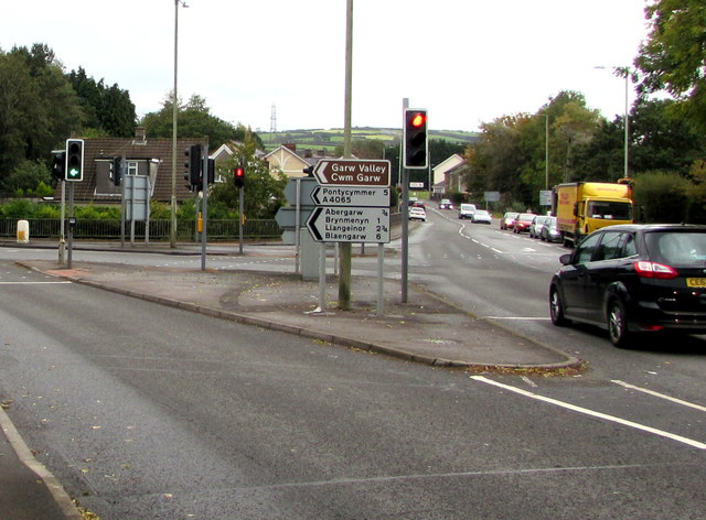 Junction of the A4065 and A4061 in Bryncethin